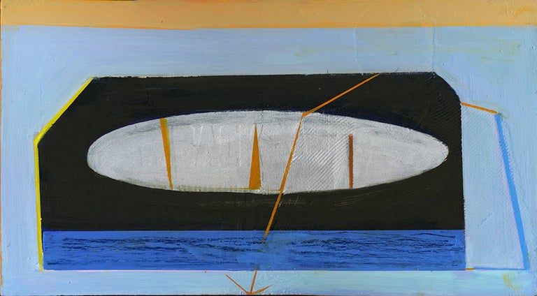 Esther Podemski, Seascape with Arrow, 2018, Oil, Found cigar box lid