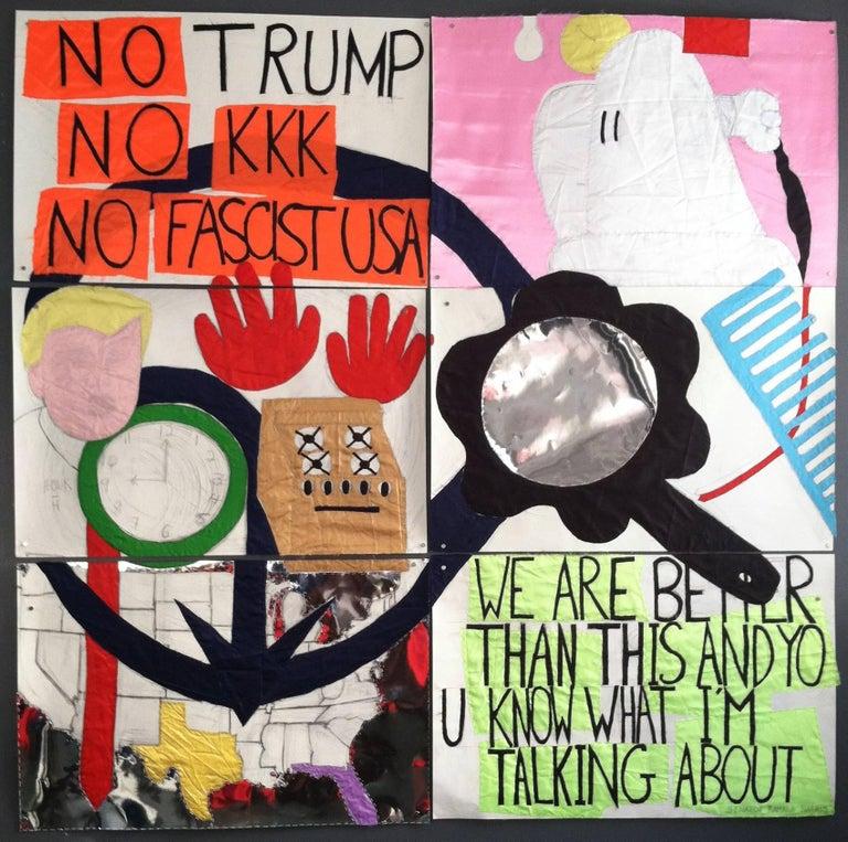 Patricia Dahlman, No_Trump, 2017, pencil, fabric, paper, thread, collage, banner