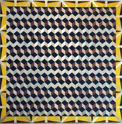 Mary Judge, Scholar's Room 3, 2015, Linen, Acrylic Paint, Board