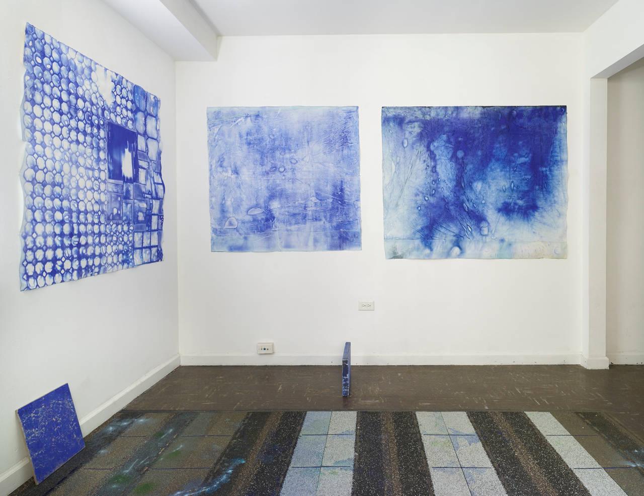 Ellen Hackl Fagan, Seeking the Sound of Cobalt Blue_Delft, 2015, Rag Paper - Purple Abstract Drawing by Ellen Hackl Fagan