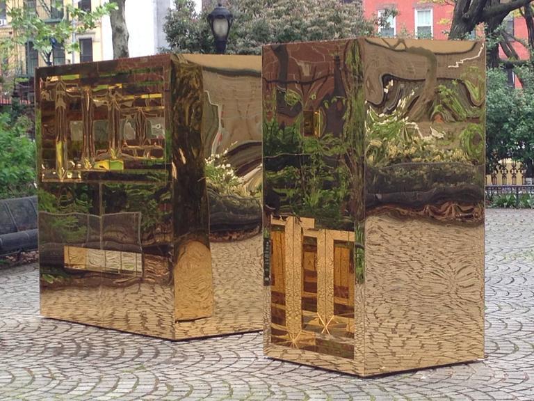 Jose Soto, Focus, 2017, Steel, Mirror, Plexiglass, Wood, Adhesive - Brown Abstract Sculpture by Jose Soto