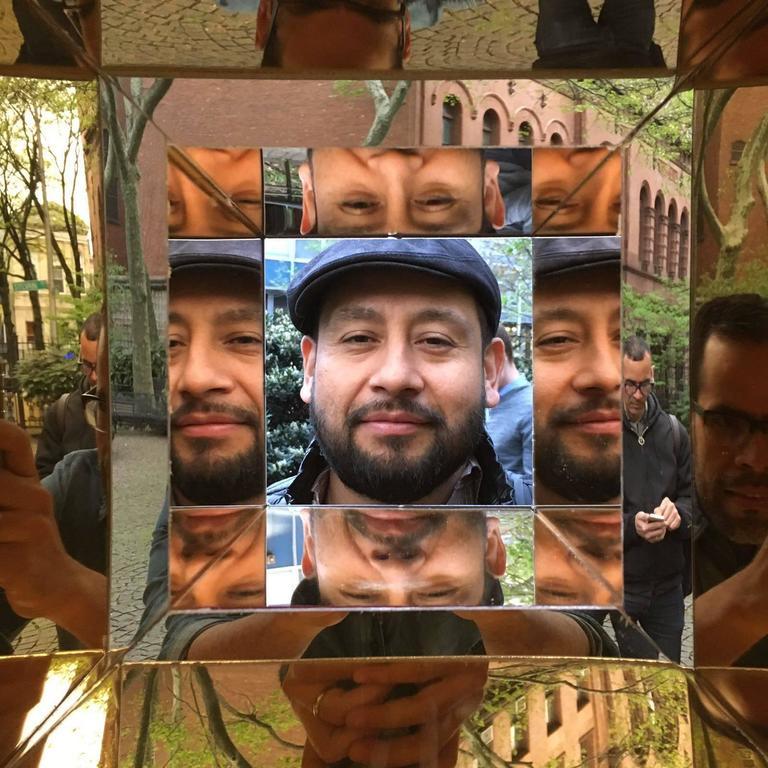 Jose Soto, Focus, 2017, Steel, Mirror, Plexiglass, Wood, Adhesive For Sale 1