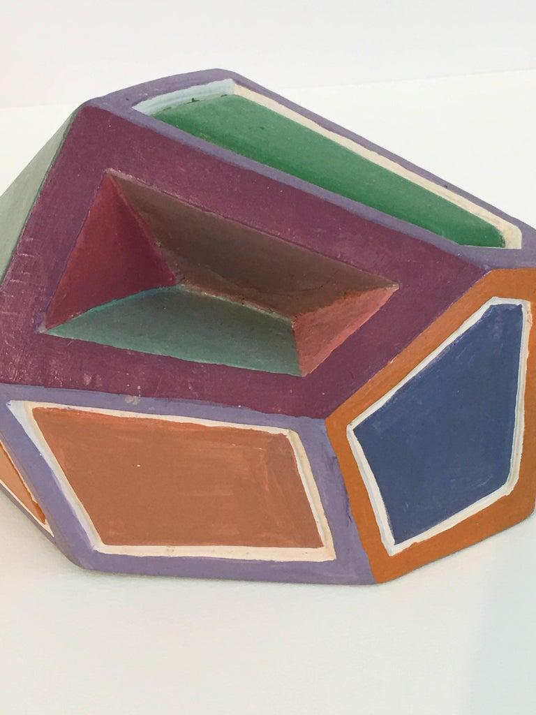 Dorothy Mayhall, Rock Crystal, 1995, Terracotta, Acrylic Paint - Abstract Geometric Sculpture by Dorothy Mayhall