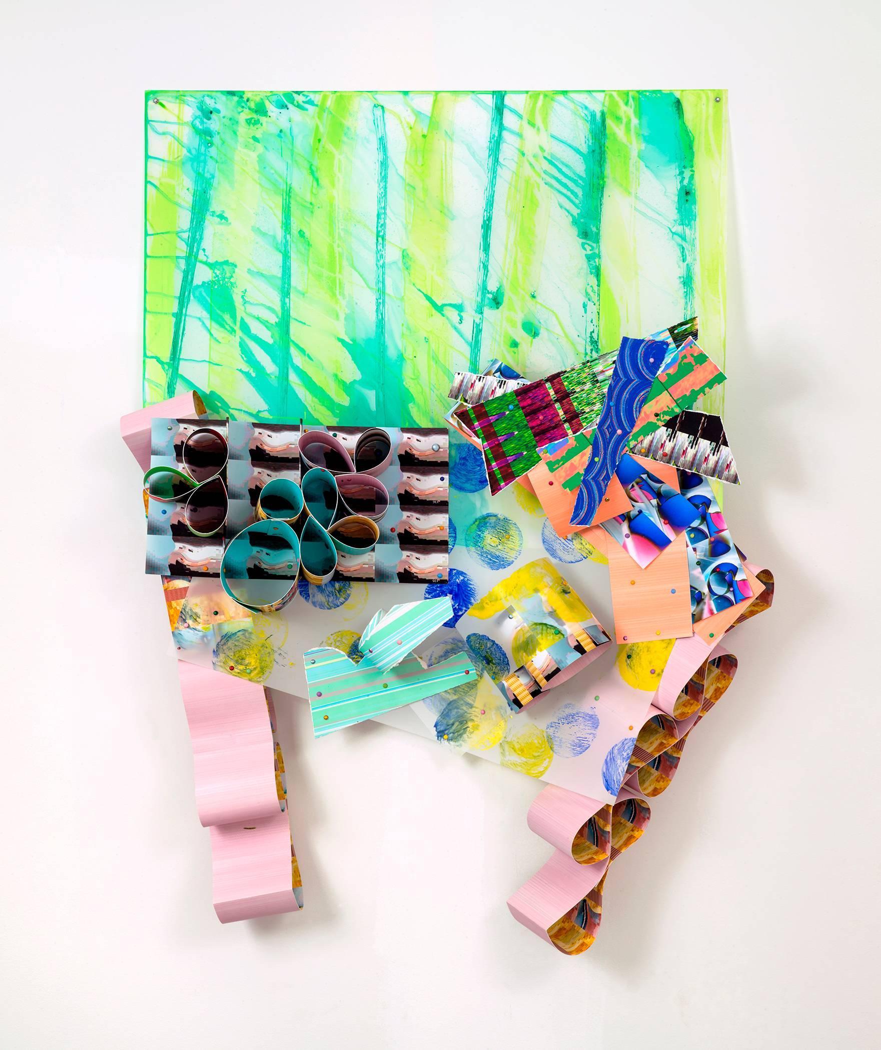 Elizabeth Riley, Video Feet, 2017, Paper, Acrylic Paint, Inkjet Print, Polyester