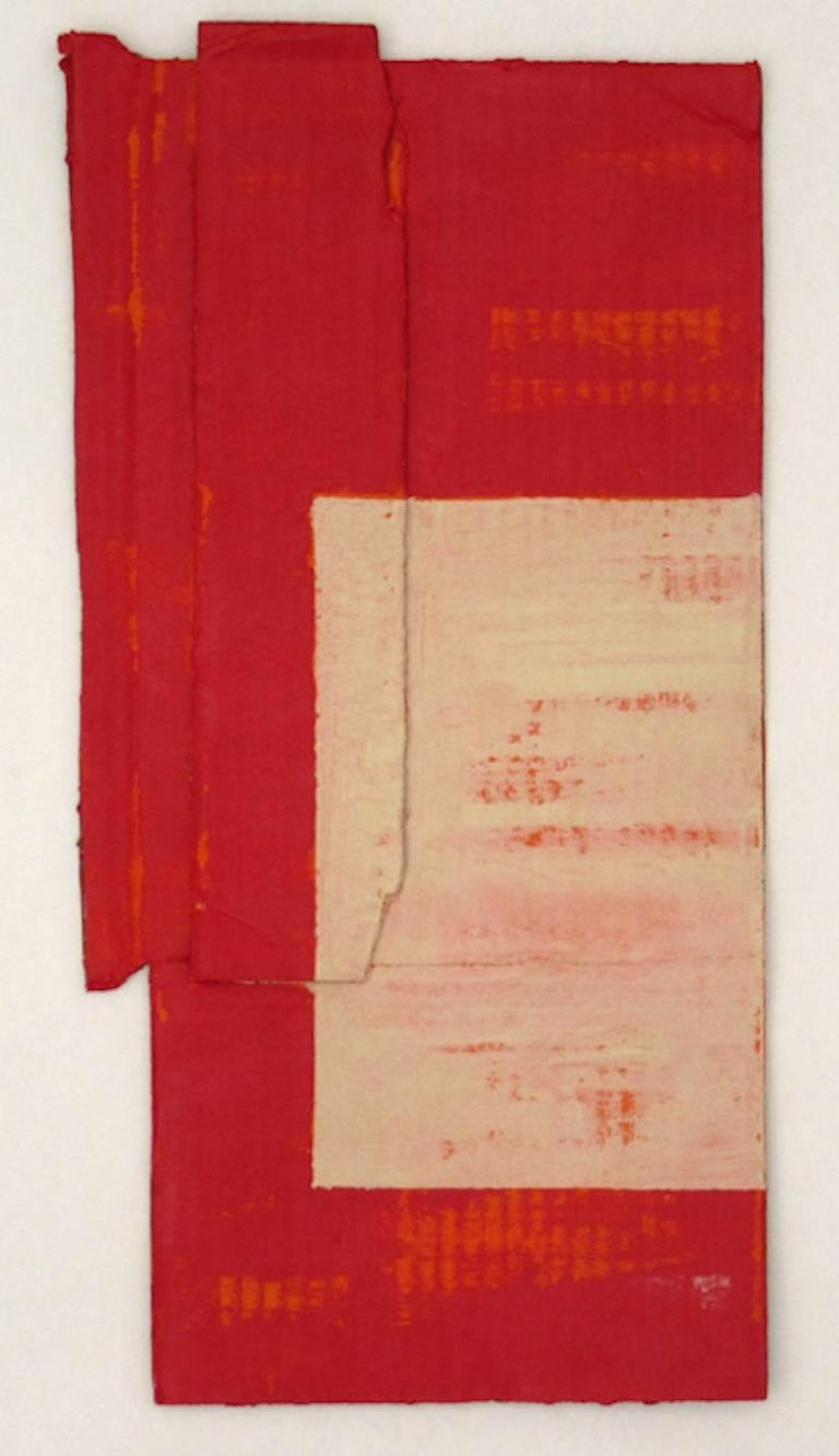 Diane Englander, Red and Buff on Orange 3, 2017, Mixed Media - Mixed Media Art by Diane Englander