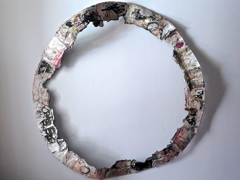 Paz Perlman, Zen Circle, 2017, Acrylic Paint, Found Objects, Paper, Coffee, Ink - Sculpture by Paz Perlman