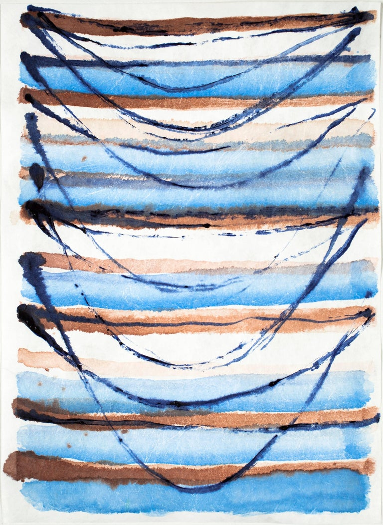 Emily Berger, Small Blue Swag , 2016,  synthetic paper, ink
