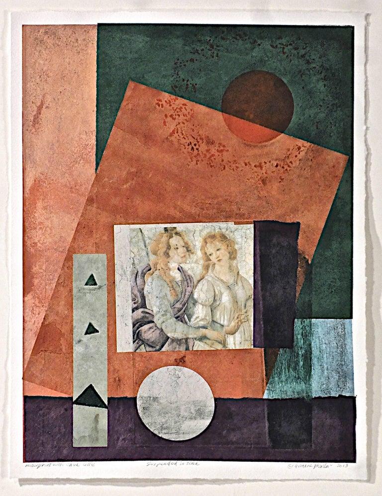 Suzanne Benton, Suspended in Time, 2014, Monoprint - Symbolist Print by Suzanne Benton