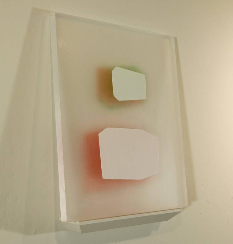 Steven Baris, Ruse Of Transparency 13, 2014, plexiglass, acrylic paint - Beige Abstract Painting by Steven Baris