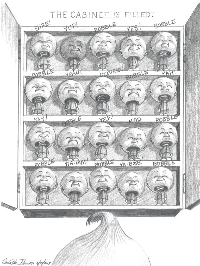 P.T.S.D. (Post Trump Series of Drawings) by Carla Rae Johnson The 87 satirical drawings displayed here are from a series that were produced one per week since November 9, 2016 (one day after the U.S. presidential election).  The drawings relate to