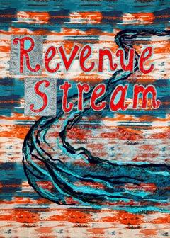 Rita Valley, Revenue Stream, 2018, fabric, vinyl, beads, banner
