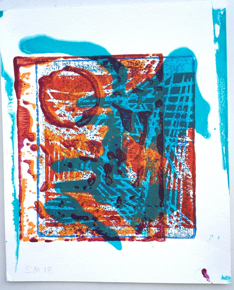 These paintings are essentially relief prints. Each paper holds the residue of a prolonged and clumsy process that transforms the concrete material reality of the surface of the printing plate into a provisional abstraction of itself. This