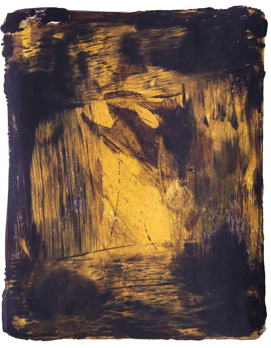 Anne Russinof, Dark Frame 6, 2016, Monotype, Acrylic, Archival Paper, Minimalist