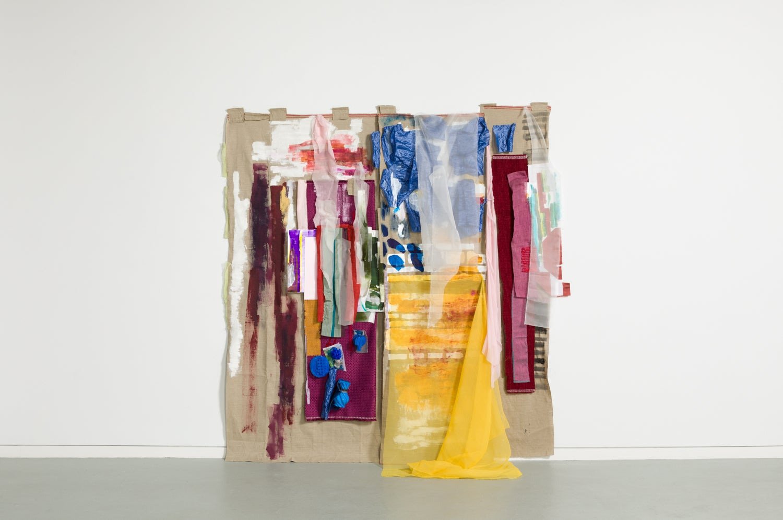 Sylvia Schwartz, Dressing-up_Detail, 2018, canvas, fabric, paint, plastic