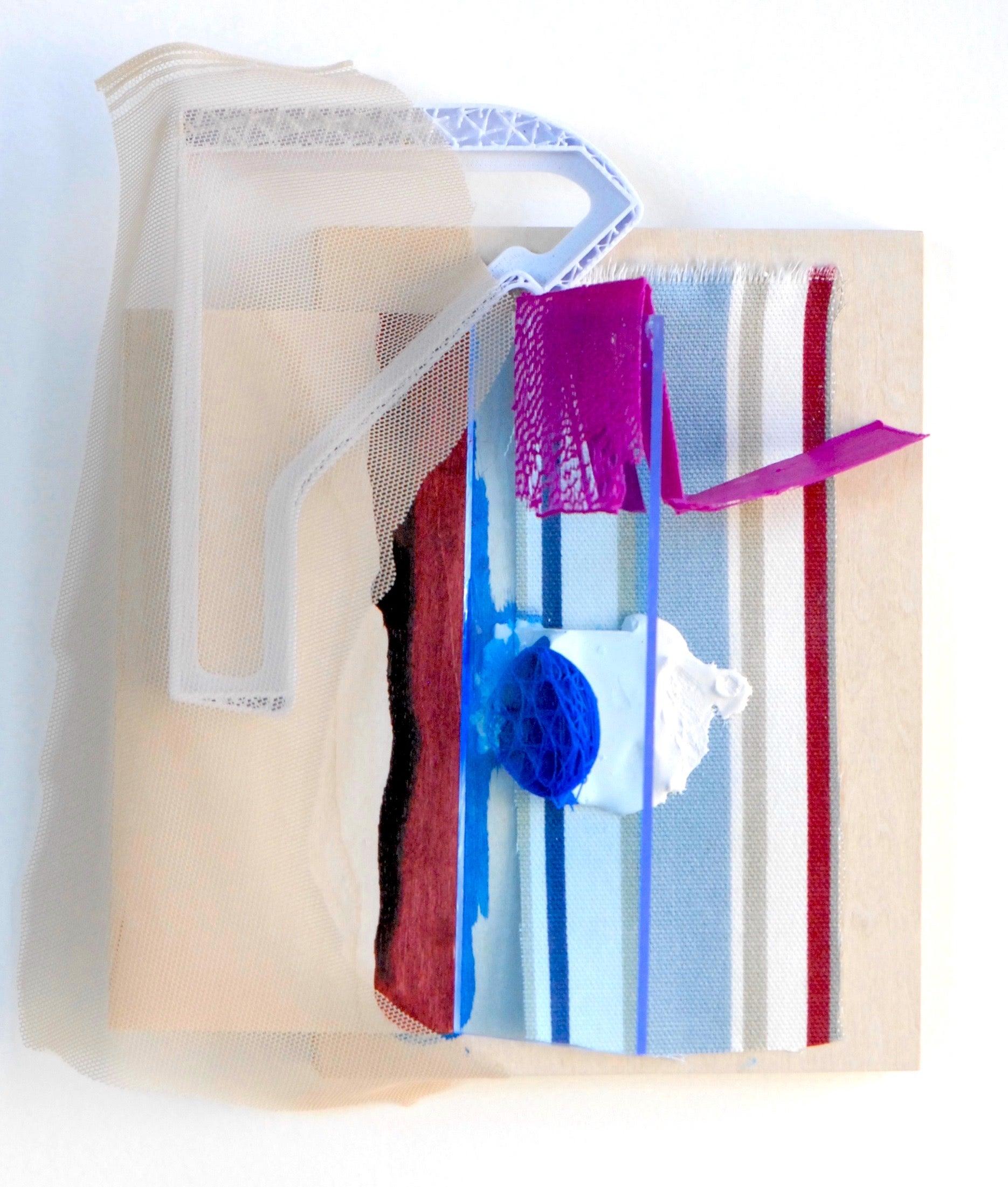 "Sylvia Schwartz 7, 2018, wood, fabric, plastic, paint, 9"" x 7.5"" x 2"""