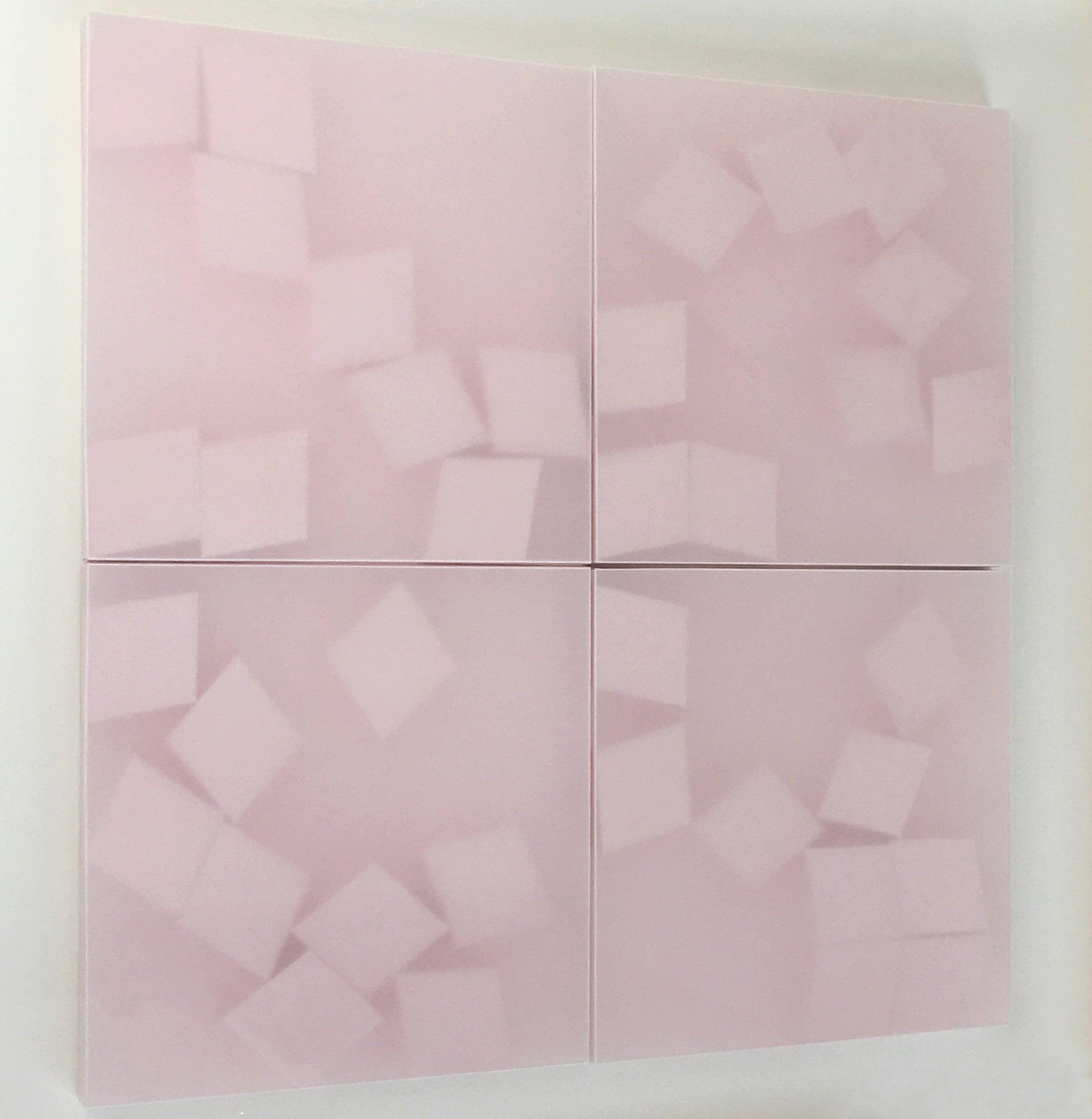 Norma Márquez Orozco, Pink Diamonds, 2015 Translucent Paper, 25 x 25, Minimalist
