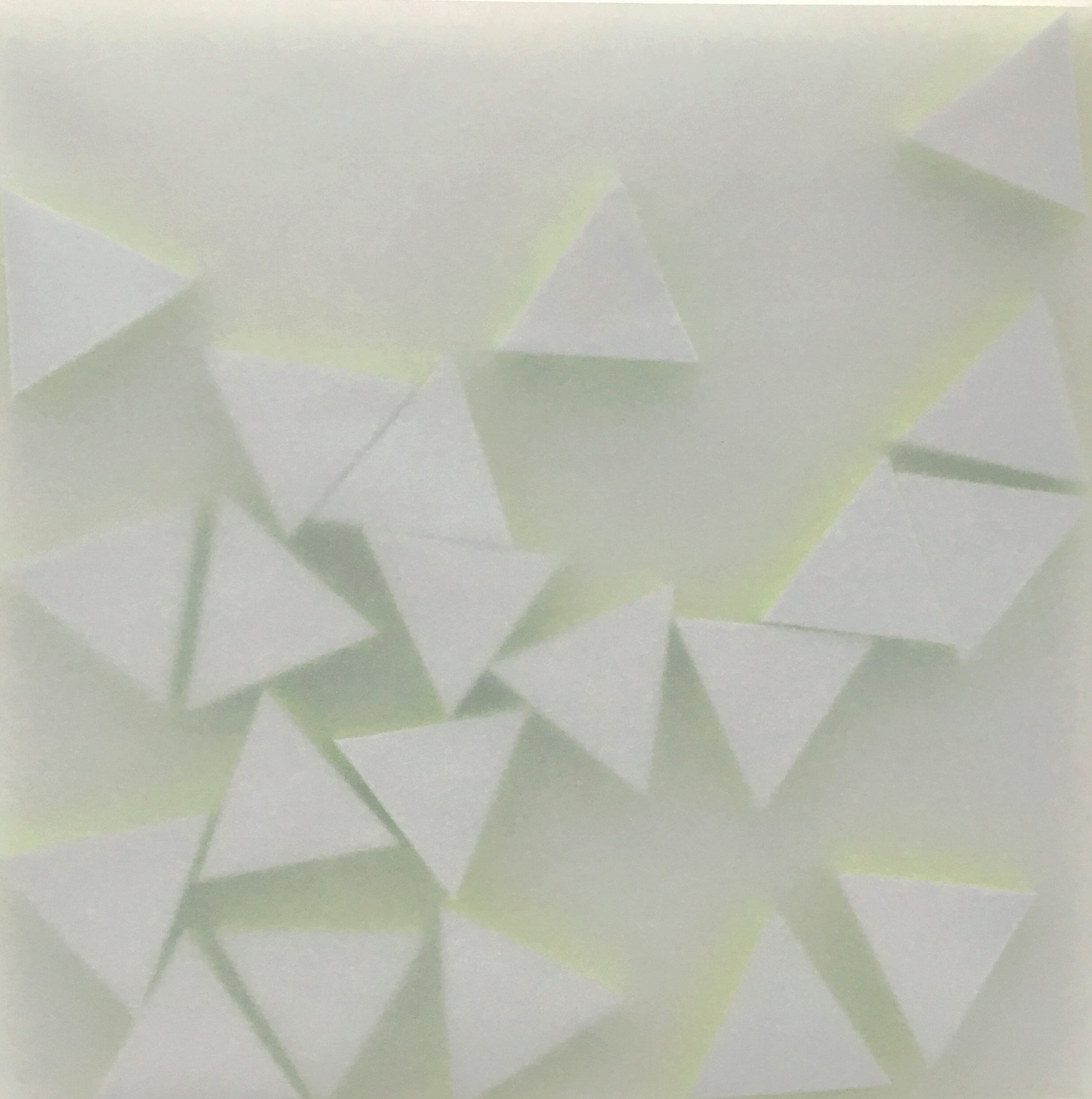 Norma Márquez Orozco, 21 Grey Triangles with Yellow Neon, 2019, Paper, 25 X 25