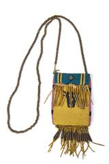 American Indian Art, Small Beaded Bag Bison Head Pattern, Northern Plains