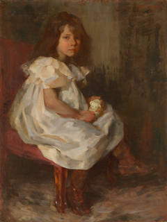 Portrait of a Little Girl Holding a Toy