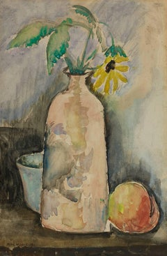 Still Life with Daisy, Bottle, and Peach