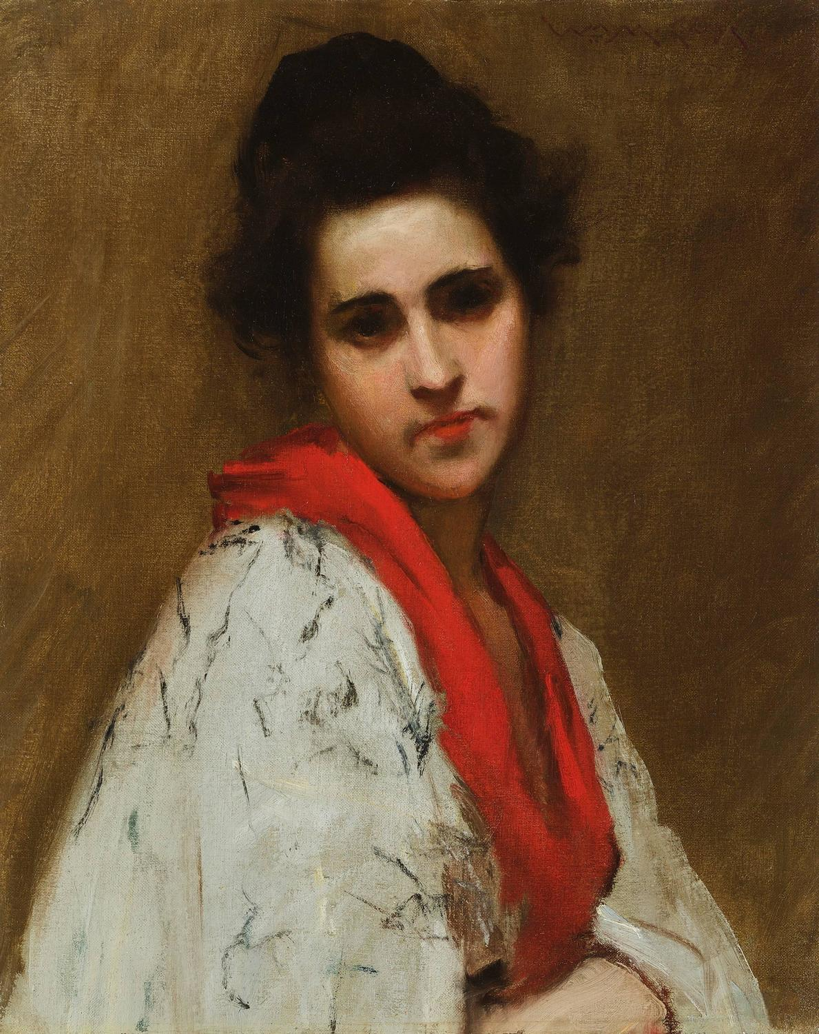 William Merritt Chase - Portrait of a Woman (Lady in ...