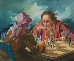 Surrealist chess players playing with lives