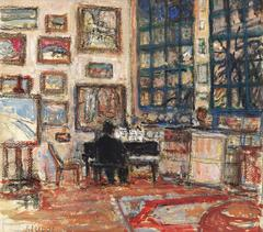 The studio of the painter with his wife playing the piano