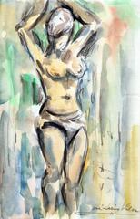 The nude woman with raised arms