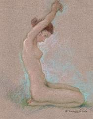 The nude young woman with raised arms