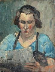 Impressionist portrait of a woman reading the newspaper