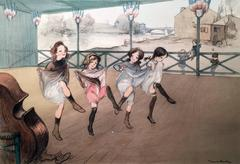 Four little girls dancing the French Cancan in Montmartre