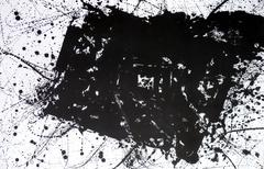 very large original black and white abstract lithograph