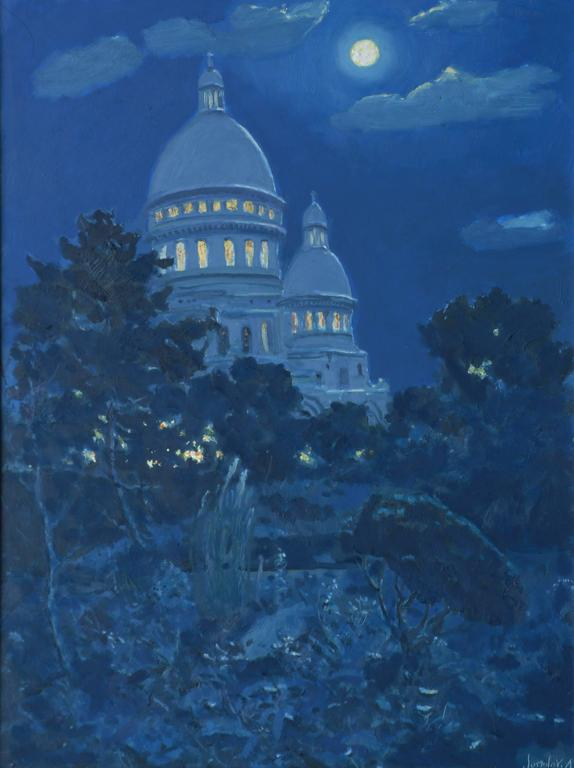 The garden of the Sacré-Coeur in Montmartre, Paris, by night