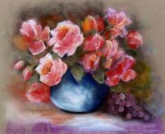 Still Life Flowers in a blue vase