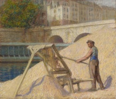 A worker near the Seine River in Paris France in 1925