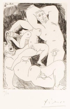 Original handsigned nude erotic etching