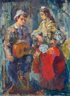 Gypsy and Guitarist - Remblas in Barcelona
