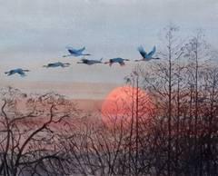 The Flight of Birds in the Evening Sun