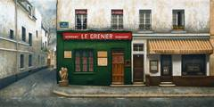 A paris street scene, Montmartre, Le Grenier, Dubonnet