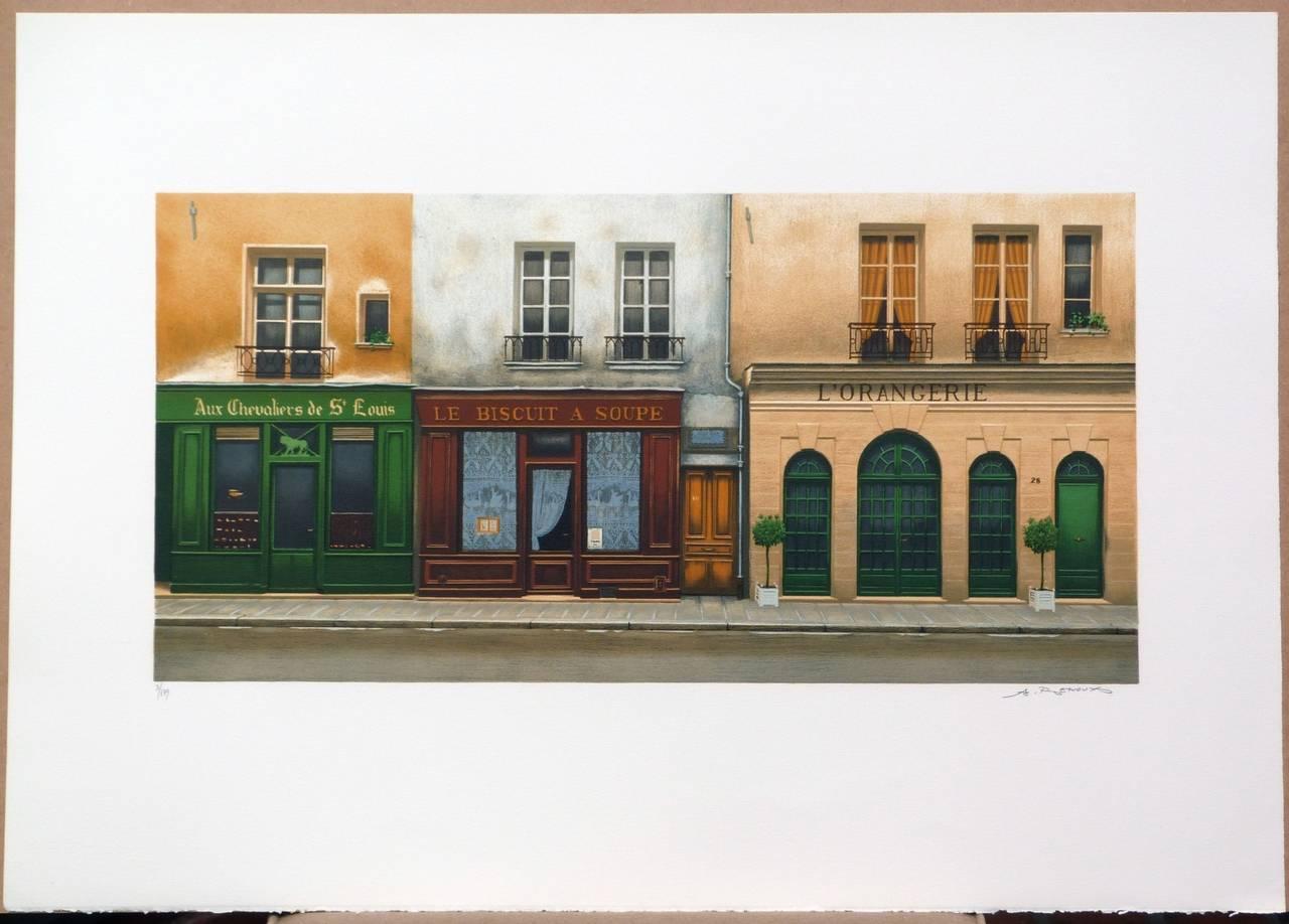 L'Orangerie, Rue Saint-Louis en l'ïle in Paris - Print by André RENOUX