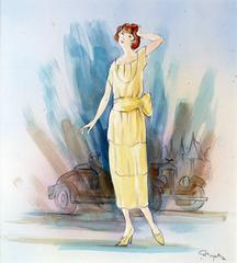 The woman in yellow and the automobile