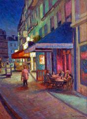 A night street scene in Montmartre Paris