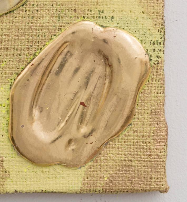 Lemon Gold Red Gold White Gold Yellow Gold Pigment Burlap - Contemporary Painting by Nancy Lorenz