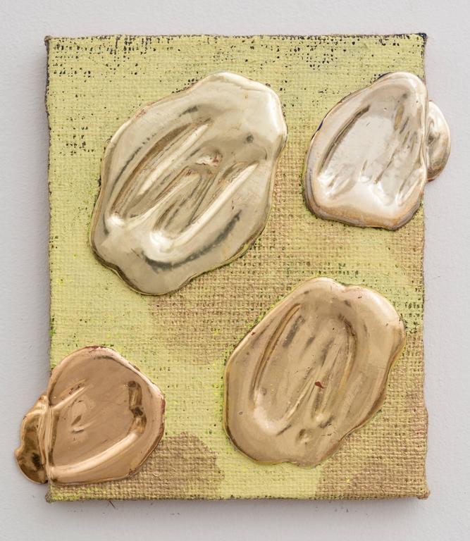 Nancy Lorenz Painting - Lemon Gold Red Gold White Gold Yellow Gold Pigment Burlap