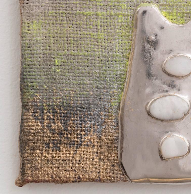 Palladium Pigment Stones Burlap - Beige Abstract Painting by Nancy Lorenz