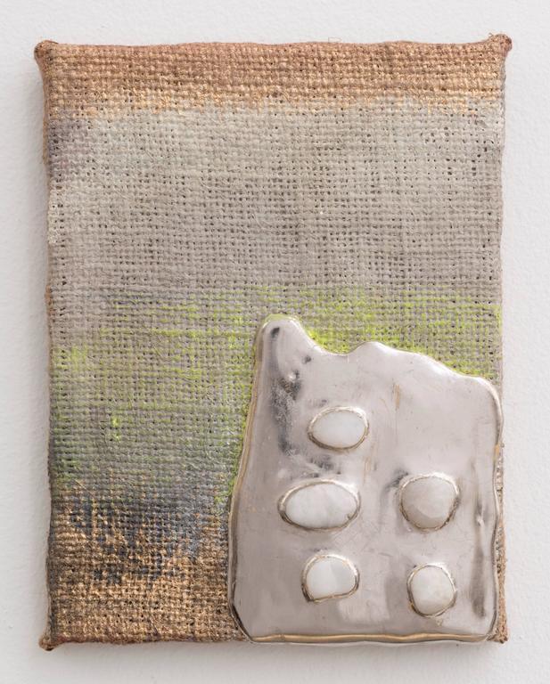 Nancy Lorenz Abstract Painting - Palladium Pigment Stones Burlap