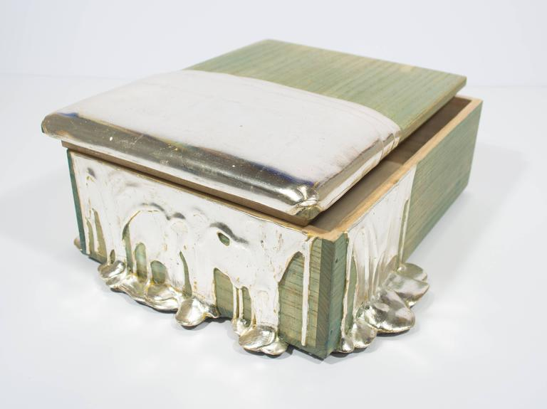 Silver Leaf Pour Box - Contemporary Mixed Media Art by Nancy Lorenz
