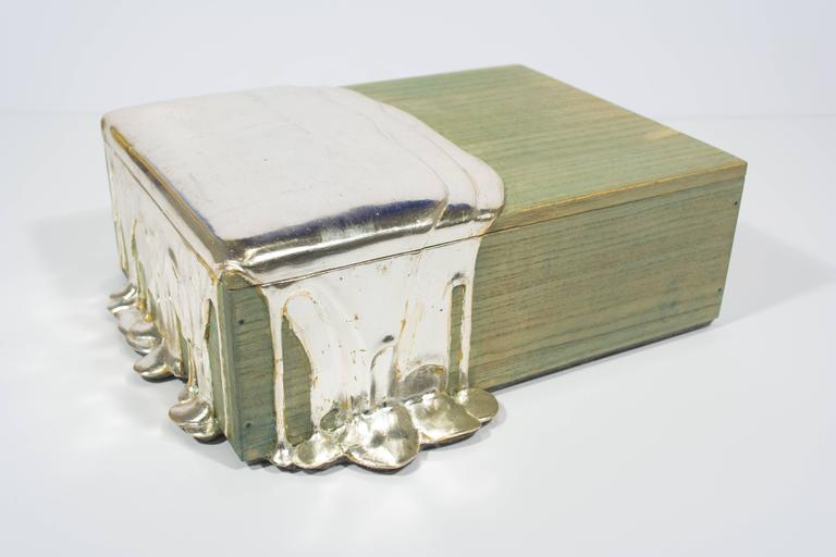 Silver Leaf Pour Box - Mixed Media Art by Nancy Lorenz