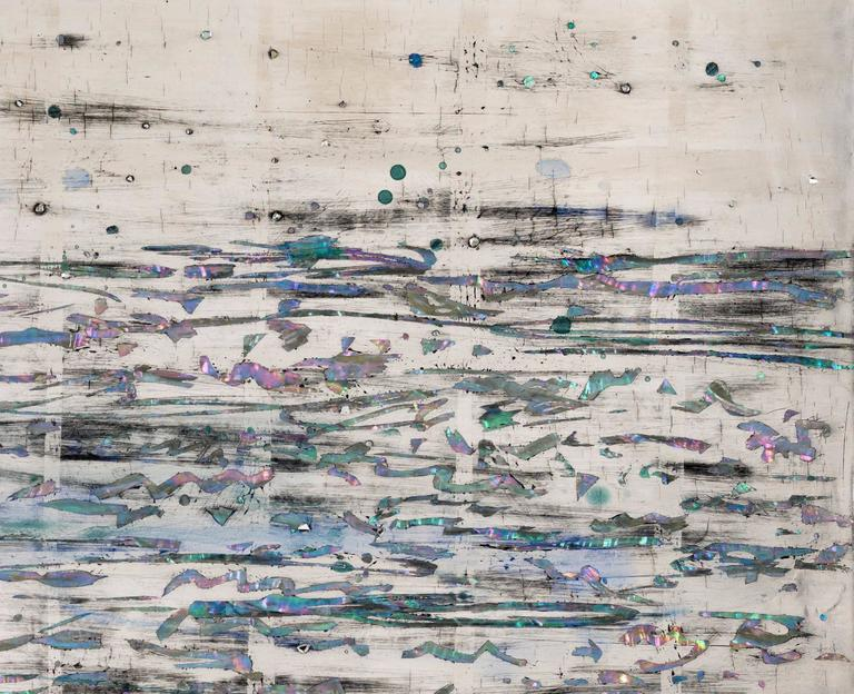 Nancy Lorenz is renowned for her use of materials, which range from burlap, jute, and clay, to the most luxurious mother of pearl and gold leaf. A direct influence of her time in Japan as an adolescent, Lorenz's paintings have long presented