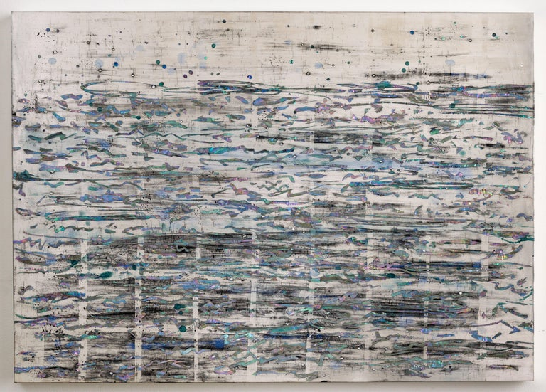 Nancy Lorenz Abstract Painting - Silver Sea